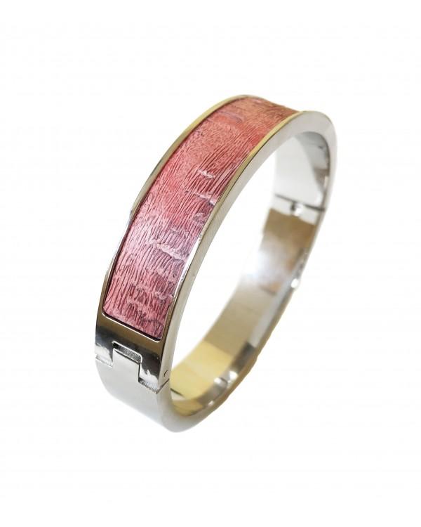 Nouveau ! Bracelet fin en acier inoxydable - rose façade argenté