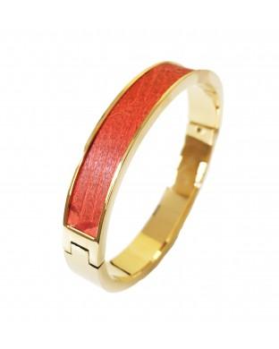 Nouveau ! Bracelet fin en acier inoxydable - orange vitaminé doré