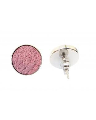 Nouveau ! Puces d'oreilles rondes - argentées rose façade