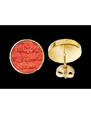 Nouveau ! Puces d'oreilles rondes - dorées orange vitaminé