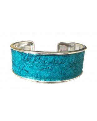 Manchette Majesté en laiton argenté - couleur turquoise