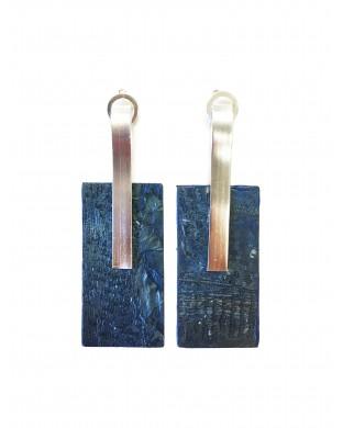 Boucles d'oreilles rectangles bleu pétrole