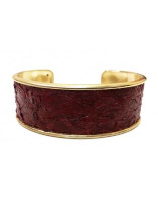 Manchette Majesté en laiton doré - rubis écailles