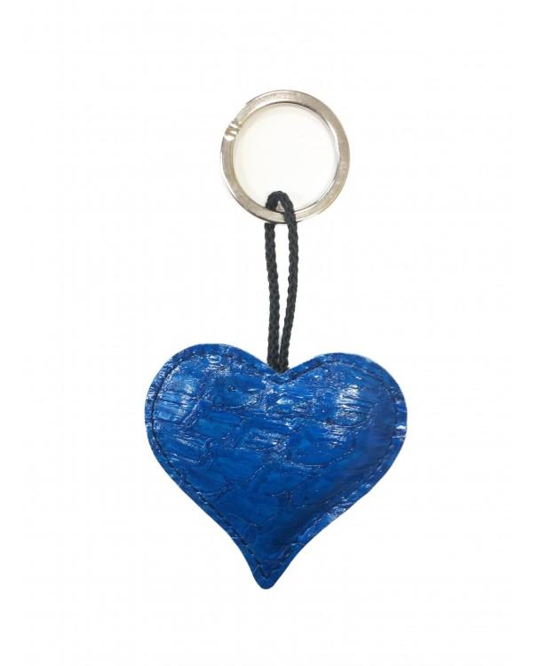 Porte-clés coeur bleu à écailles